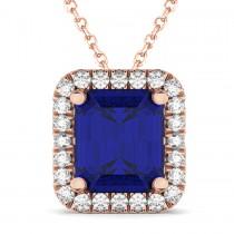 Emerald-Cut Blue Sapphire & Diamond Pendant 14k Rose Gold (3.11ct)