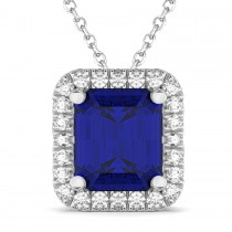 Emerald-Cut Blue Sapphire & Diamond Pendant 14k White Gold (3.11ct)