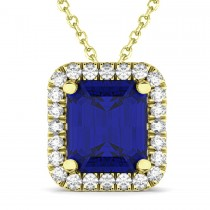 Emerald-Cut Blue Sapphire & Diamond Pendant 18k Yellow Gold (3.11ct)