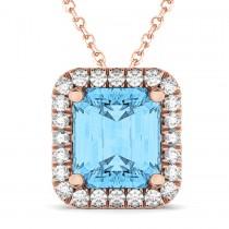 Emerald-Cut Blue Topaz & Diamond Pendant 14k Rose Gold (3.11ct)