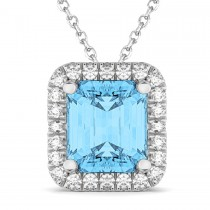 Emerald-Cut Blue Topaz & Diamond Pendant 14k White Gold (3.11ct)