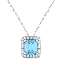 Emerald-Cut Blue Topaz & Diamond Pendant 14k White Gold (3.11ct)