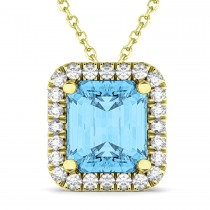 Emerald-Cut Blue Topaz & Diamond Pendant 18k Yellow Gold (3.11ct)