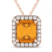 Emerald-Cut Citrine & Diamond Pendant Necklace 14k Rose Gold (3.11ct)