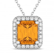 Emerald-Cut Citrine & Diamond Pendant 14k White Gold (3.11ct)