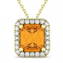 Emerald-Cut Citrine & Diamond Pendant 14k Yellow Gold (3.11ct)