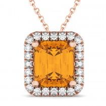 Emerald-Cut Citrine & Diamond Pendant 18k Rose Gold (3.11ct)