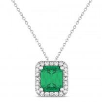 Emerald-Cut Emerald & Diamond Pendant 14k White Gold (3.11ct)
