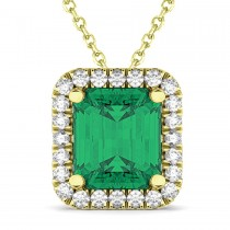 Emerald-Cut Emerald & Diamond Pendant 14k Yellow Gold (3.11ct)