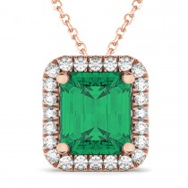 Emerald-Cut Emerald & Diamond Pendant 18k Rose Gold (3.11ct)