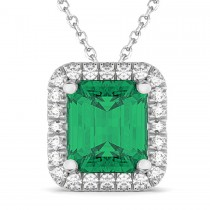 Emerald-Cut Emerald & Diamond Pendant 18k White Gold (3.11ct)