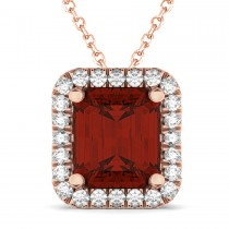 Emerald-Cut Garnet & Diamond Pendant 14k Rose Gold (3.11ct)