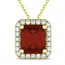 Emerald-Cut Garnet & Diamond Pendant 14k Yellow Gold (3.11ct)