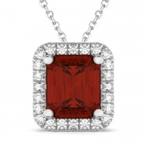 Emerald-Cut Garnet & Diamond Pendant Necklace 18k White Gold (3.11ct)