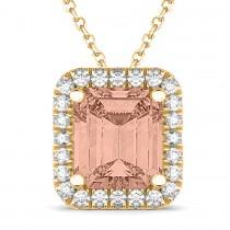 Emerald Cut Morganite & Diamonds Pendant 14k Yellow Gold (3.11ct)