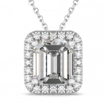 Emerald Cut Moissanite & Diamonds Pendant 14k White Gold (3.11ct)