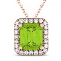 Emerald-Cut Peridot & Diamond Pendant 14k Rose Gold (3.11ct)