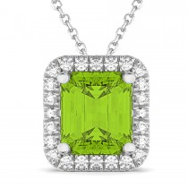 Emerald-Cut Peridot & Diamond Pendant 14k White Gold (3.11ct)