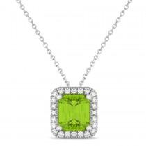 Emerald-Cut Peridot & Diamond Pendant 14k White Gold (3.11ct)