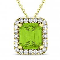 Emerald-Cut Peridot & Diamond Pendant 14k Yellow Gold (3.11ct)