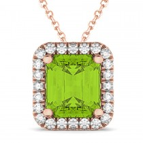 Emerald-Cut Peridot & Diamond Pendant 18k Rose Gold (3.11ct)