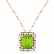Emerald-Cut Peridot & Diamond Pendant 18k Rose Gold (3.11ct)|escape