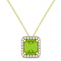 Emerald-Cut Peridot & Diamond Pendant 18k Yellow Gold (3.11ct)