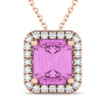 Emerald-Cut Pink Sapphire & Diamond Pendant 14k Rose Gold (3.11ct)