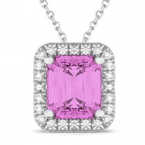 Emerald-Cut Pink Sapphire & Diamond Pendant 14k White Gold (3.11ct)