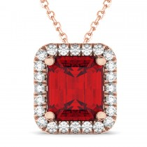 Emerald-Cut Ruby & Diamond Pendant 14k Rose Gold (3.11ct)