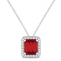 Ruby & Diamond Pendant Necklace 14k White Gold (3.11ct)