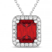 Ruby & Diamond Pendant Necklace 18k White Gold (3.11ct)