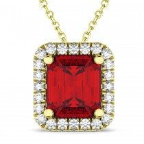 Emerald-Cut Ruby & Diamond Pendant 18k Yellow Gold (3.11ct)
