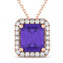 Emerald-Cut Tanzanite & Diamond Pendant 14k Rose Gold (3.11ct)