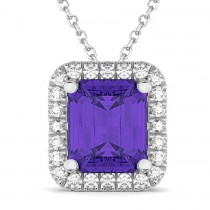 Emerald-Cut Tanzanite & Diamond Pendant 14k White Gold (3.11ct)