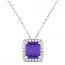Emerald-Cut Tanzanite & Diamond Pendant 14k White Gold (3.11ct)|escape
