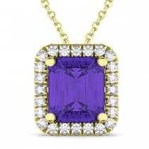 Emerald-Cut Tanzanite & Diamond Pendant 14k Yellow Gold (3.11ct)