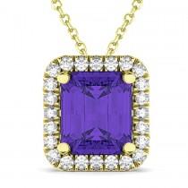 Emerald-Cut Tanzanite & Diamond Pendant 18k Yellow Gold (3.11ct)