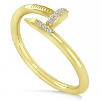 Diamond Curved Nail Ring 14k Yellow Gold (0.06ct)