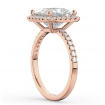 Princess Cut Halo Diamond Engagement Ring 14K Rose Gold (3.58ct)