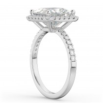 Princess Cut Halo Diamond Engagement Ring 14K White Gold (3.58ct)
