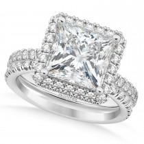 Diamond Princess-Cut Halo Curved Bridal Set 14k White Gold (3.85ct)