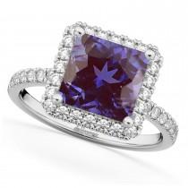 Princess Cut Halo Lab Alexandrite & Diamond Engagement Ring 14K White Gold 3.47ct