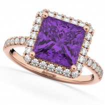 Princess Cut Halo Amethyst & Diamond Engagement Ring 14K Rose Gold 3.47ct
