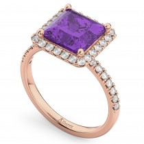 Princess Cut Halo Amethyst & Diamond Engagement Ring 14K Rose Gold 3.47ct