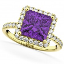 Princess Cut Halo Amethyst & Diamond Engagement Ring 14K Yellow Gold 3.47ct