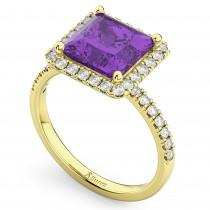 Princess Cut Halo Amethyst & Diamond Engagement Ring 14K Yellow Gold 3.47ct