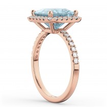 Princess Cut Halo Aquamarine & Diamond Engagement Ring 14K Rose Gold 3.47ct