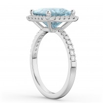 Princess Cut Halo Aquamarine & Diamond Engagement Ring 14K White Gold 3.47ct
