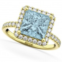 Princess Cut Halo Aquamarine & Diamond Engagement Ring 14K Yellow Gold 3.47ct